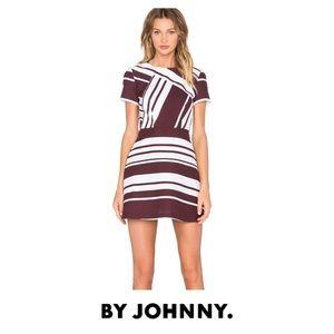 By Johnny. Pinot Stripe Mini Dress Burgundy White